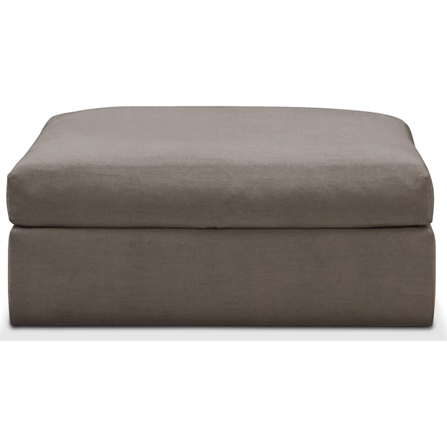 Living Room Furniture - Collin Ottoman- Comfort in Oakley III Granite