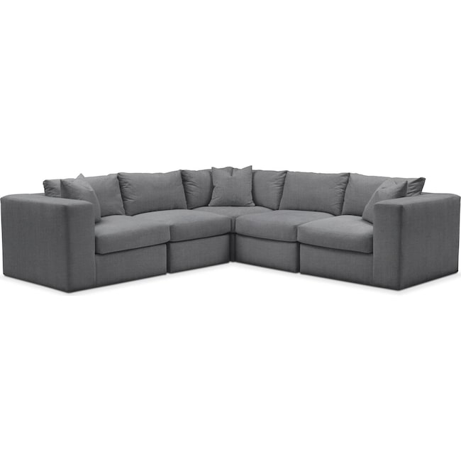 Living Room Furniture - Collin 5 Pc. Sectional - Comfort in Depalma Charcoal