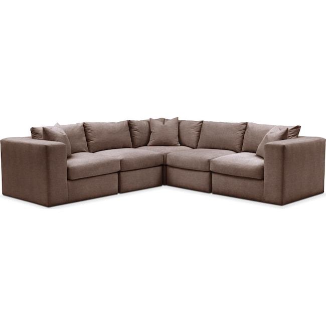 Living Room Furniture - Collin 5 Pc. Sectional - Comfort in Oakley III Java