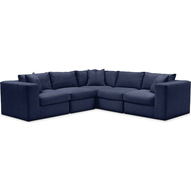Living Room Furniture - Collin 5 Pc. Sectional - Comfort in Oakley III Ink
