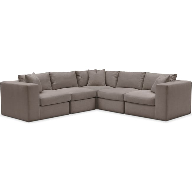 Living Room Furniture - Collin 5 Pc. Sectional - Comfort in Oakley III Granite