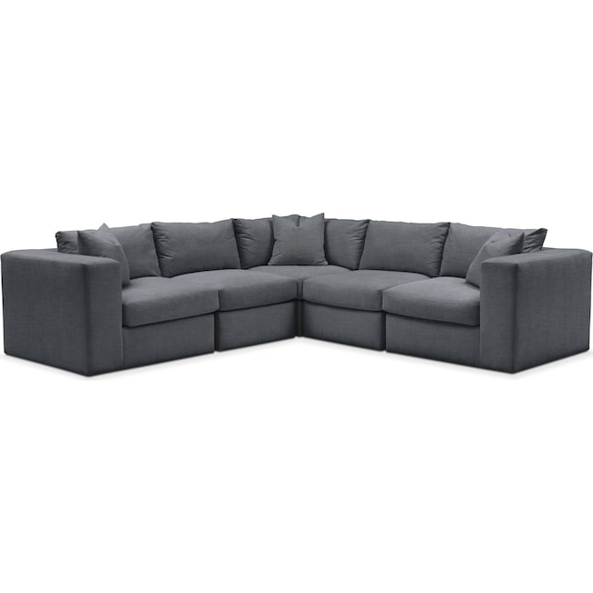 Living Room Furniture - Collin 5 Pc. Sectional - Comfort in Milford II Charcoal