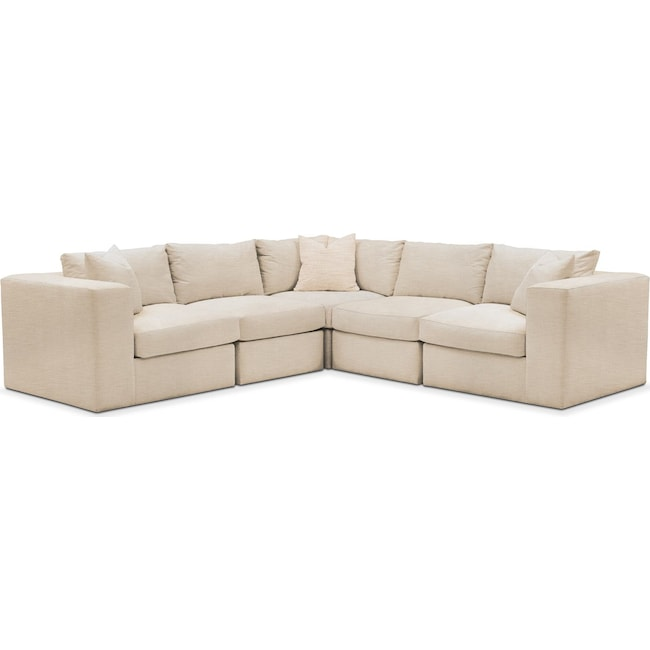 Living Room Furniture - Collin 5-Piece Sectional - Comfort in Victory Ivory