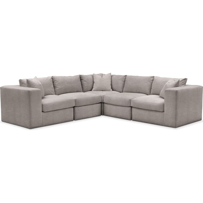 Living Room Furniture - Collin 5 Pc. Sectional - Comfort in Curious Silver Rine