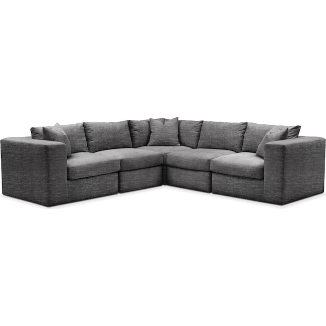 Living Room Furniture - Collin 5 Pc. Sectional - Comfort in Curious Charcoal