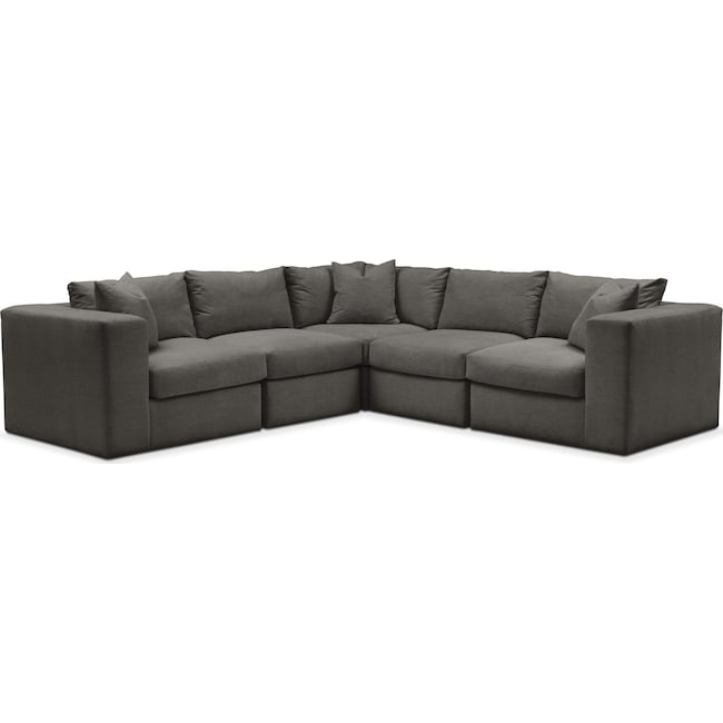 Living Room Furniture - Collin 5-Piece Sectional - Comfort in Statley L Sterling