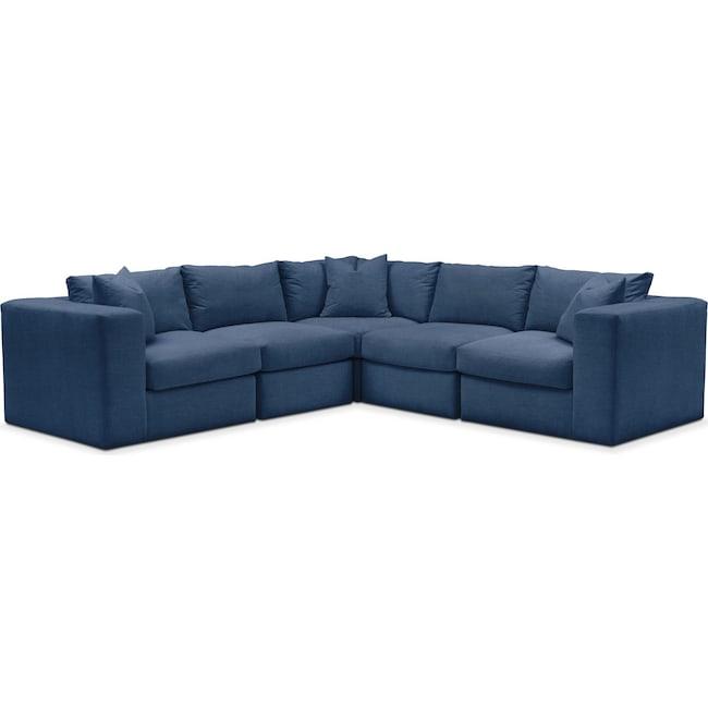 Living Room Furniture - Collin 5 Pc. Sectional - Comfort in Hugo Indigo