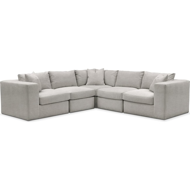 Living Room Furniture - Collin 5 Pc. Sectional - Comfort in Dudley Gray