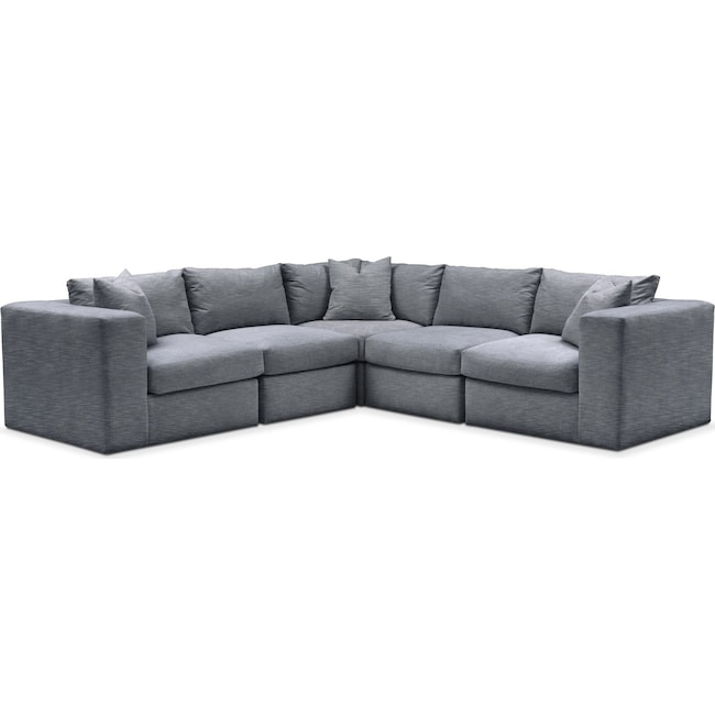 Living Room Furniture - Collin 5 Pc. Sectional - Comfort in Dudley Indigo