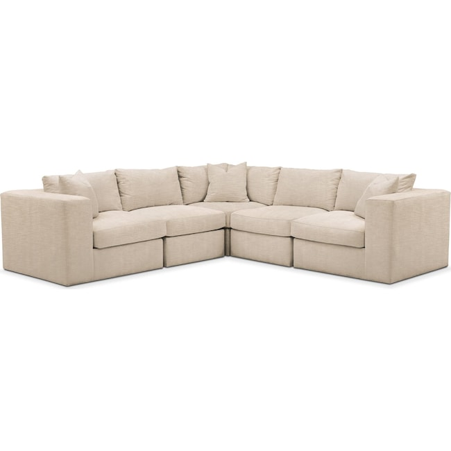 Living Room Furniture - Collin 5-Piece Sectional - Comfort in Dudley Buff