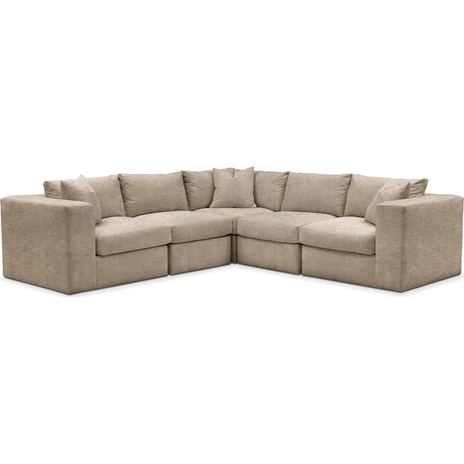 Living Room Furniture - Collin 5-Piece Sectional - Comfort in Dudley Burlap