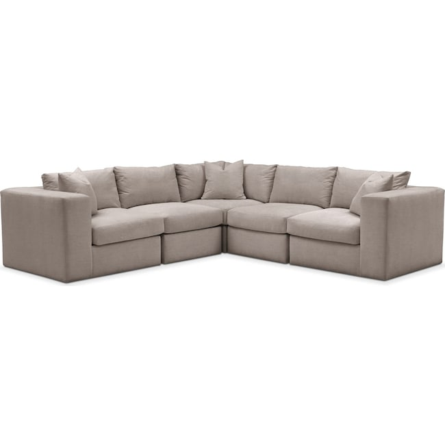 Living Room Furniture - Collin 5 Pc. Sectional - Comfort in Abington TW Fog