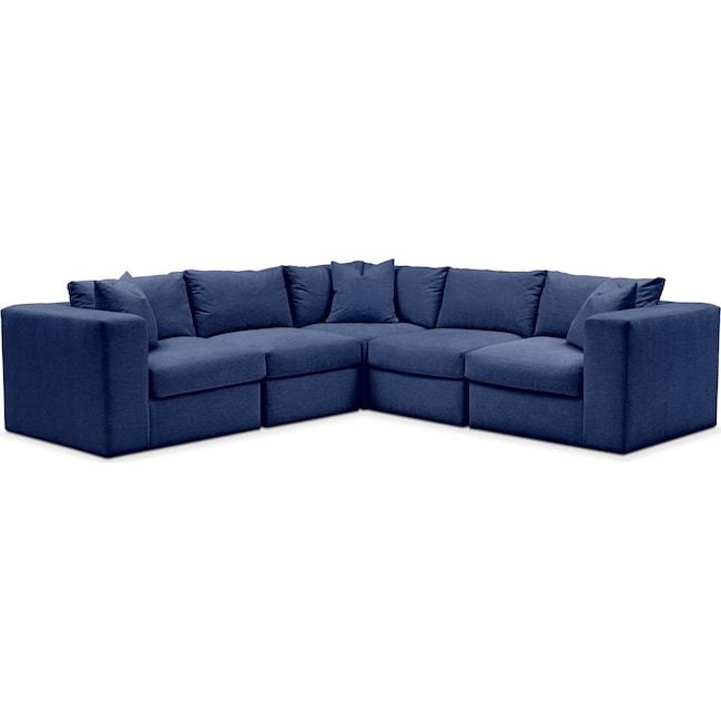 Living Room Furniture - Collin 5 Pc. Sectional - Comfort in Abington TW Indigo