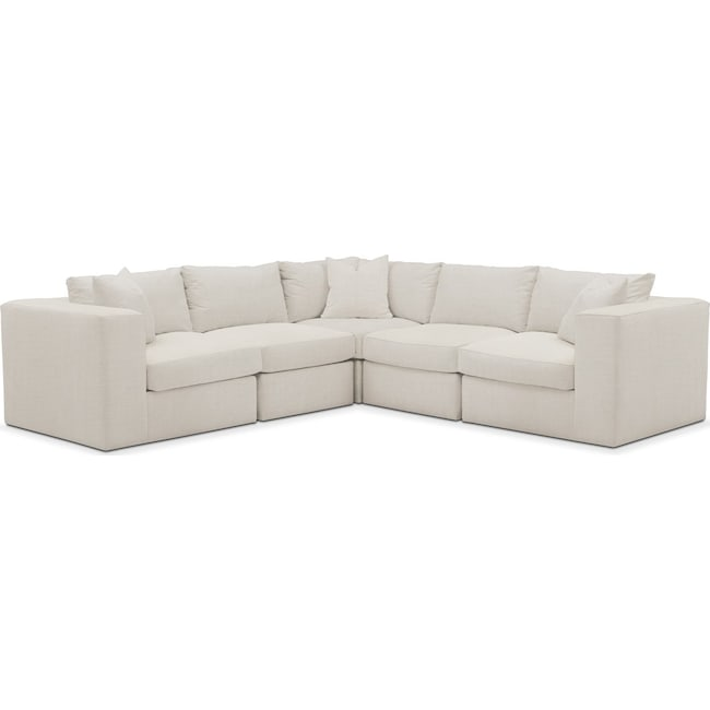 Living Room Furniture - Collin 5 Pc. Sectional - Comfort in Anders Ivory