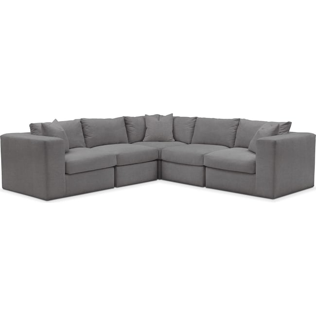 Living Room Furniture - Collin 5 Pc. Sectional - Cumulus in Hugo Graphite