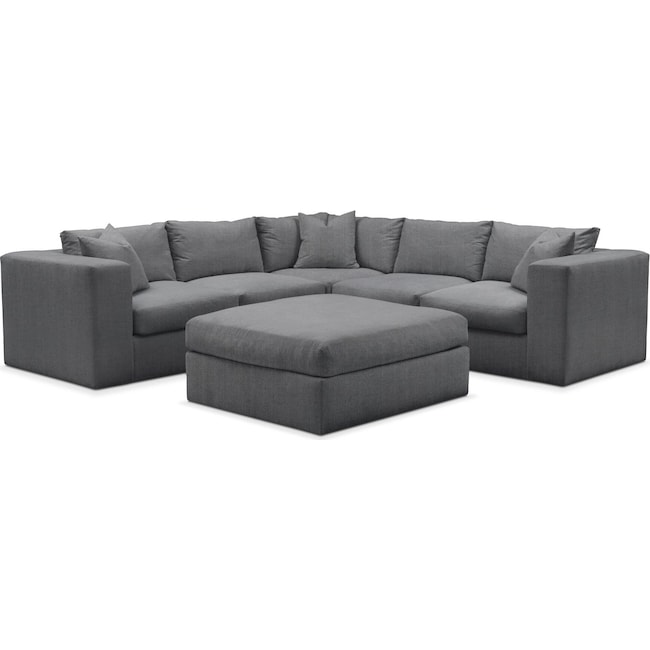 Living Room Furniture - Collin 6 Pc. Sectional- Comfort in Depalma Charcoal
