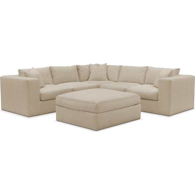 Living Room Furniture - Collin 6 Pc. Sectional- Comfort in Depalma Taupe
