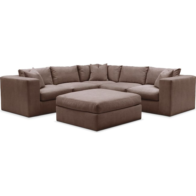 Living Room Furniture - Collin 6 Pc. Sectional- Comfort in Oakley III Java