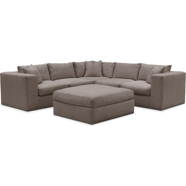 Living Room Furniture - Collin 6 Pc. Sectional- Comfort in Oakley III Granite