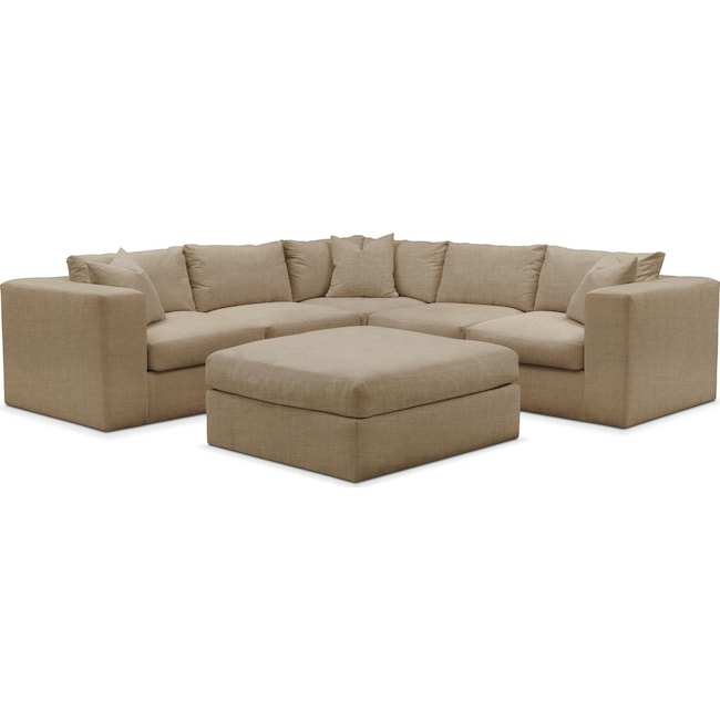 Living Room Furniture - Collin 6 Pc. Sectional- Comfort in Milford II Toast