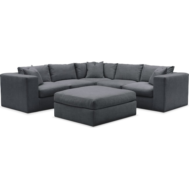 Living Room Furniture - Collin 6 Pc. Sectional- Comfort in Milford II Charcoal