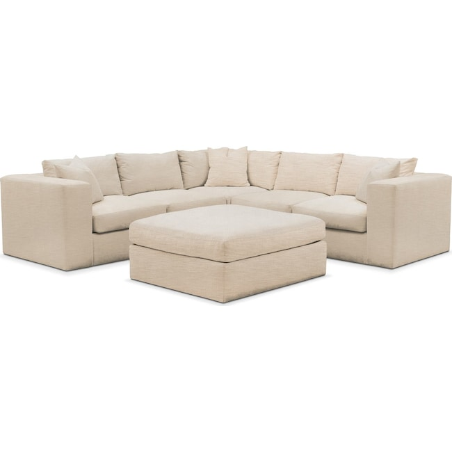 Living Room Furniture - Collin 6 Pc. Sectional- Comfort in Victory Ivory
