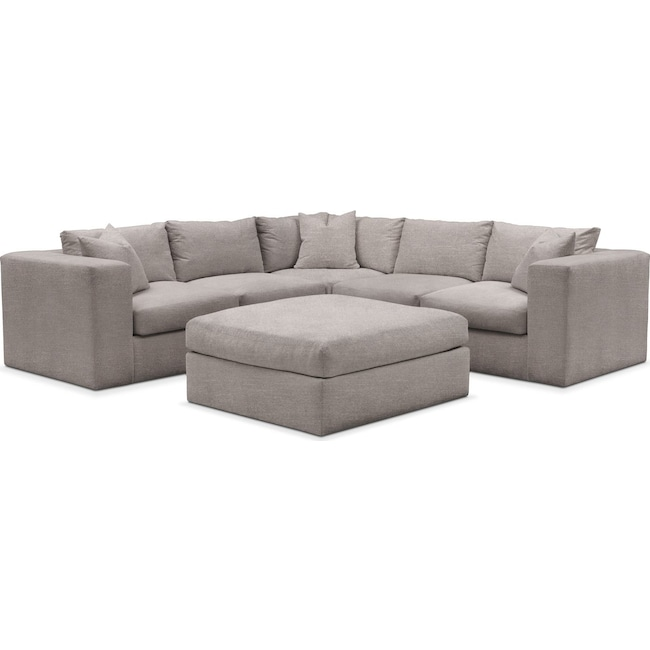 Living Room Furniture - Collin 6 Pc. Sectional- Comfort in Curious Silver Rine