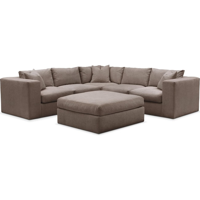 Living Room Furniture - Collin 6 Pc. Sectional- Comfort in Hugo Mocha