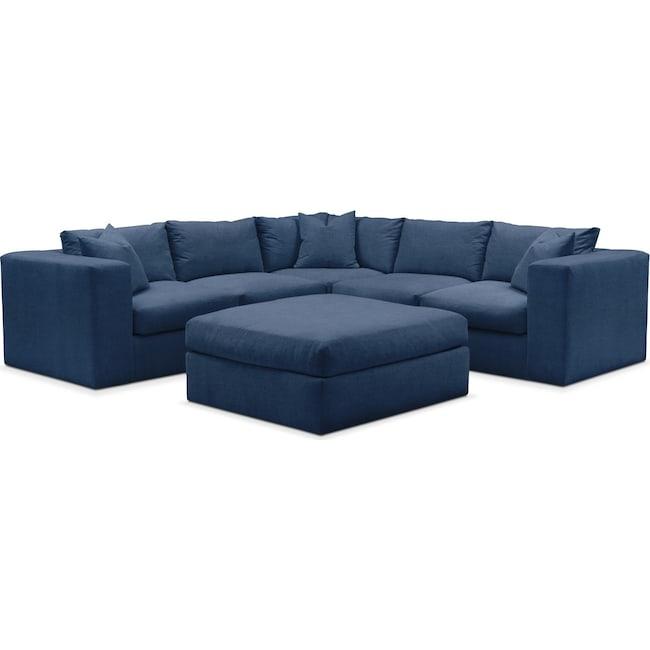 Living Room Furniture - Collin 6 Pc. Sectional- Comfort in Hugo Indigo