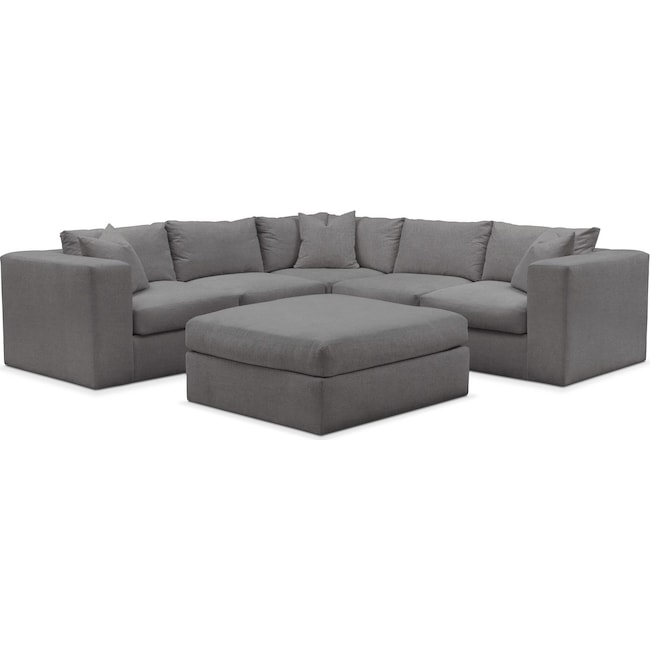 Living Room Furniture - Collin 6 Pc. Sectional- Comfort in Hugo Graphite