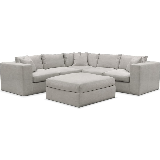Living Room Furniture - Collin 6-Piece Sectional - Comfort in Dudley Gray
