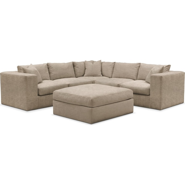 Living Room Furniture - Collin 6 Pc. Sectional- Comfort in Dudley Burlap