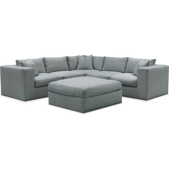 Living Room Furniture - Collin 6 Pc. Sectional- Comfort in Abington TW Seven Seas