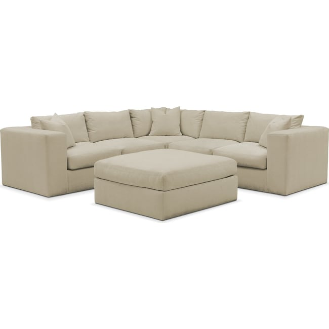 Living Room Furniture - Collin 6 Pc. Sectional- Comfort in Abington TW Barley
