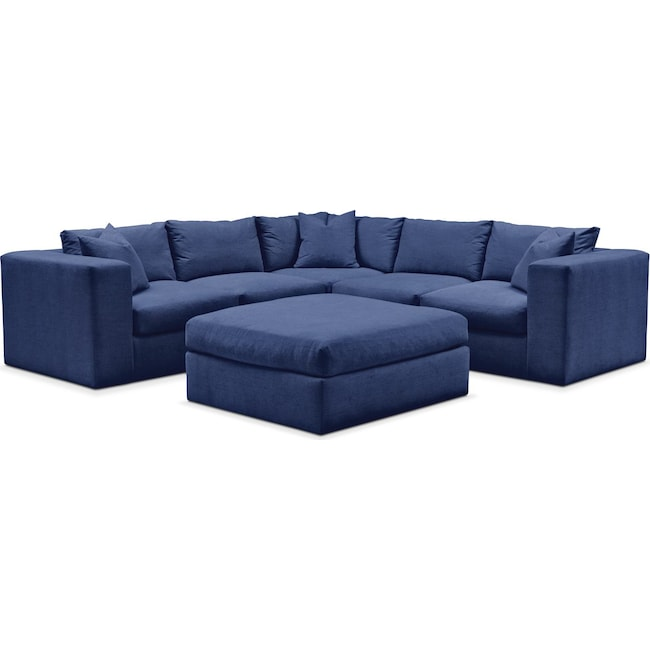 Living Room Furniture - Collin 6 Pc. Sectional- Comfort in Abington TW Indigo