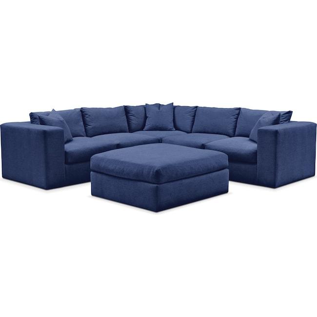 Living Room Furniture - Collin 6 Pc. Sectional- Comfort in Abington TW Indigo