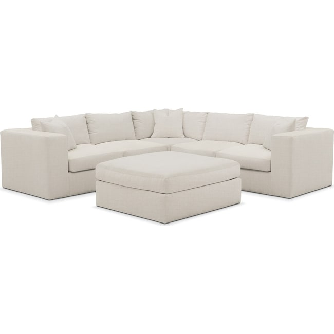 Living Room Furniture - Collin 6 Pc. Sectional- Comfort in Anders Ivory