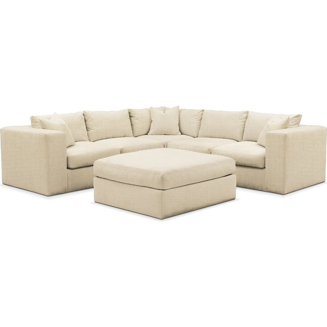 Living Room Furniture - Collin 6 Pc. Sectional- Comfort in Anders Cloud