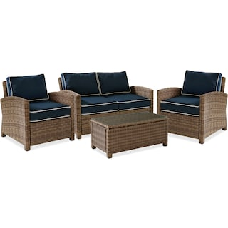 Destin Outdoor Loveseat, 2 Chairs and Cocktail Table Set - Blue