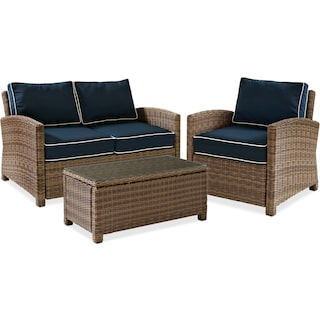 Destin Outdoor Loveseat, Chair and Cocktail Table Set - Blue