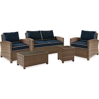 Destin Outdoor Loveseat, 2 Chairs, Cocktail Table and End Table Set - Blue