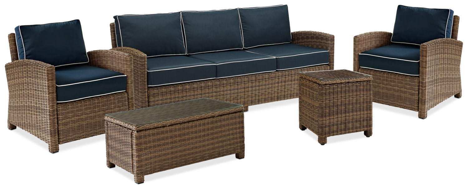 Destin Outdoor Sofa, 2 Chairs, Cocktail Table And End Table Set - Blue