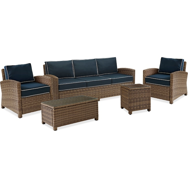 Outdoor Furniture - Destin Outdoor Sofa, 2 Chairs, Coffee Table and End Table Set - Blue