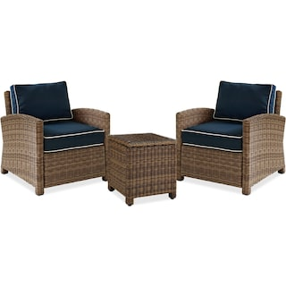 Destin 2 Outdoor Chairs and End Table Set - Blue