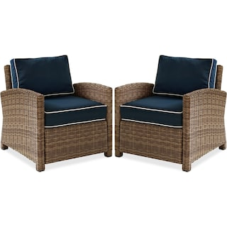 Destin Set of 2 Outdoor Chairs - Blue