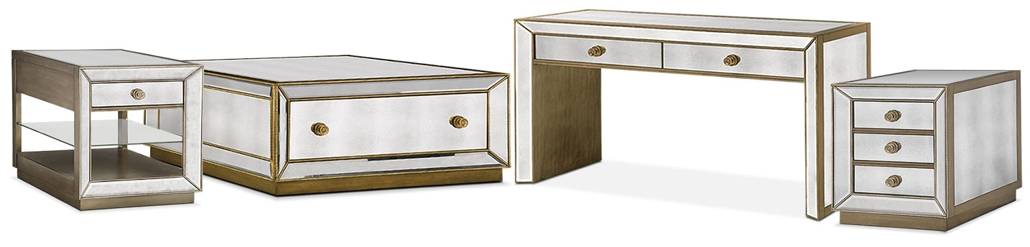 The Reflection Occasional Table Collection - Antiqued Mirror