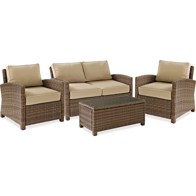 Destin Outdoor Loveseat 2 Chairs And Cocktail Table Set Sand Value City Furniture And