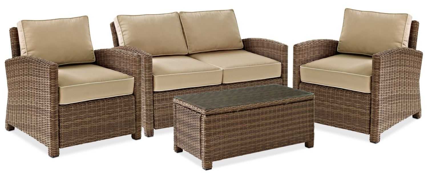 Outdoor Furniture   Destin Outdoor Loveseat, 2 Chairs And Cocktail Table  Set   Sand