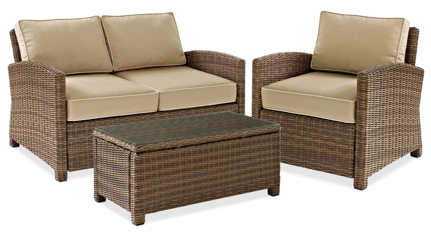 Destin Outdoor Loveseat Chair And Cocktail Table Set Sand Value City Furniture And Mattresses