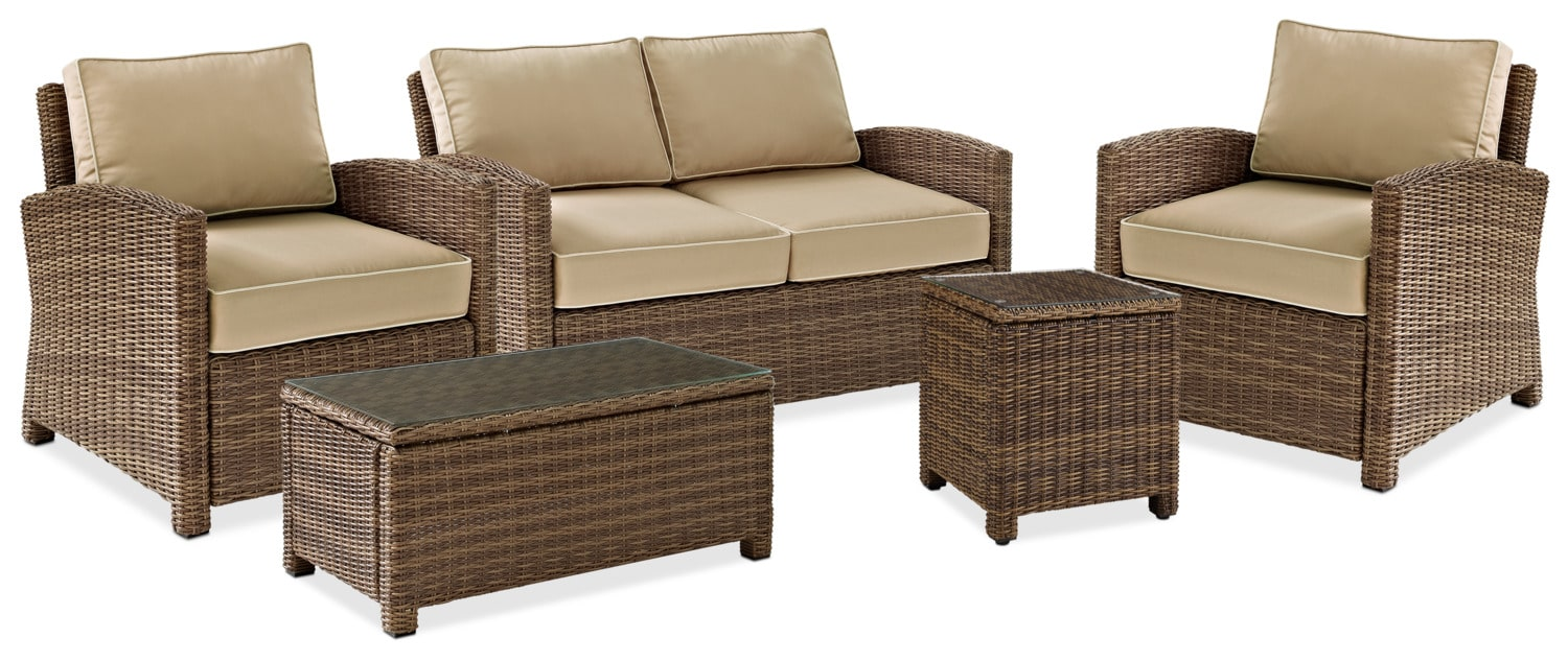 Outdoor Furniture - Destin Outdoor Loveseat, 2 Chairs, Coffee Table and End Table Set